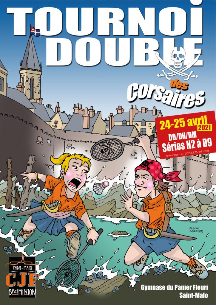 Affiche du tournoi double des corsaires 2021 - CJF Badminton